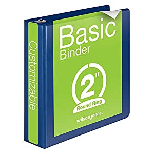 Wilson Jones Round Ring View Binder, 2 Inch, Basic, 362 Series, Customizable, Blue (W362-44BL)