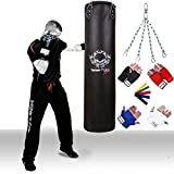 Kick Boxing Filled Punch Bags with Bag Gloves & Chain Real Vinyl Black 5ftby TurnerMAX