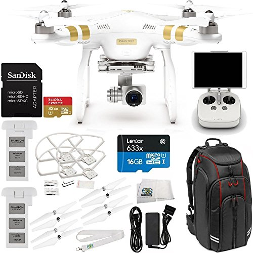 DJI Phantom 3 Professional Quadcopter w/ 4K Camera, 3-Axis Gimbal & Manufacturer Accessories + Extra DJI Battery + Professional Video Equipment Backpack for DJI + MORE