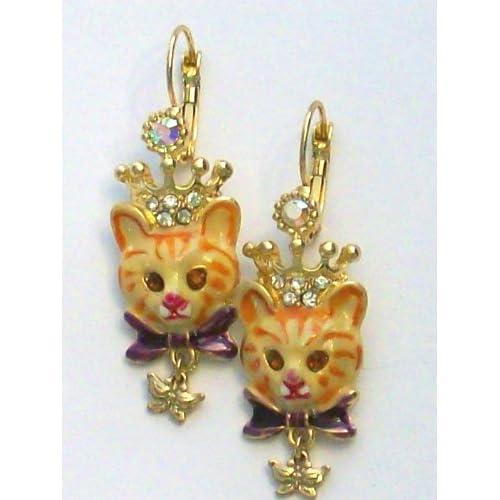 Kirks Folly Royal Kitty Cat Leverback Drop Earrings