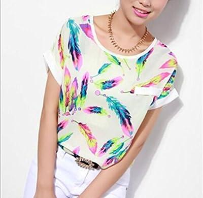 Changeshopping Fashion Women's Casual Lace Chiffon Pan Collar T-Shirt Blouse Top