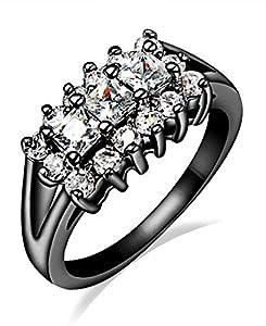 Women's Stylish luxury Black Rhodium-plated Princess Cut AAA Cubic Zirconia Engagement Wedding Rings,Size 7