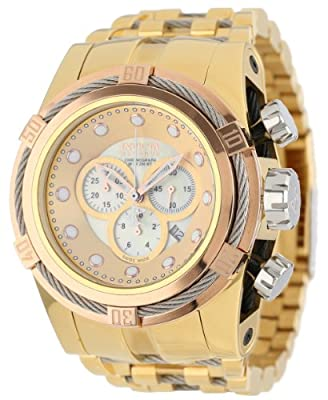 Invicta Men's Bolt Reserve Champagne Mother-Of-Pearl Dial 18k Gold Ion-Plated Stainless Steel Watch