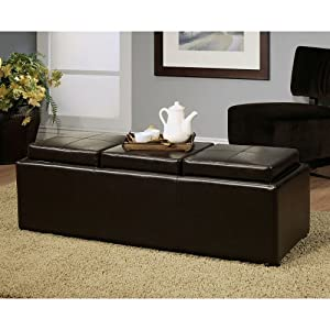 Bicast Leather Ottoman with 3 Trays - Dark Brown Color - Dark Brown