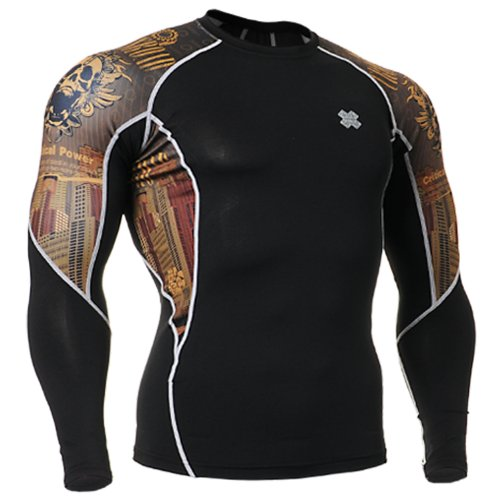 Fixgear Mens Womens Skull Printed Running Compression Top Long Sleeve S ~ 2XL