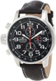 Mens Stainless Steel Lefty Force Chronograph Black Dial Leather Strap