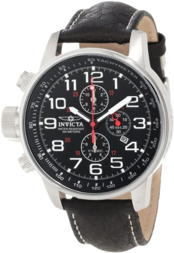 Invicta Men's 2770 Black Leather Quartz Watch with Black Dial