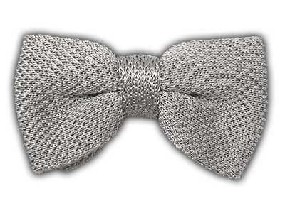 100% Silk Silver Knitted Pre-Tied Bow Tie