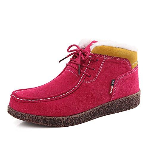 Scarpe invernali in pelle e velluto/Casuale scarpe piatte/ fondo piatto calde scarpe/ lumaca le scarpe da donna-A Lunghezza piede=24.3CM(9.6Inch)