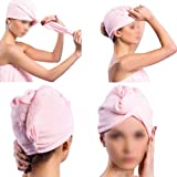 2X Lady Hair Drying Wrap Towel Turbie Turban Twist Hat Cap Hat Loop Button