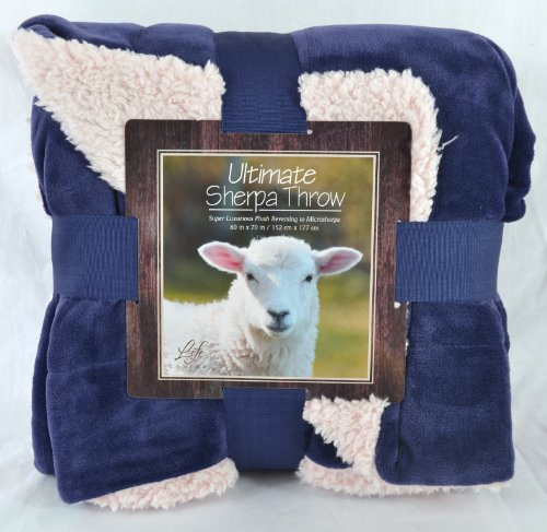 Ultimate Sherpa Throw Blanket 60 In X 70 In (Blue)