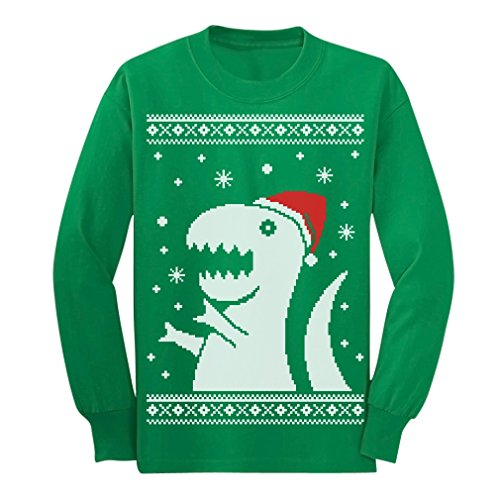 Big Trex Santa Ugly Christmas Sweater - Children Funny Long sleeve kids T-Shirt Small Green (Pics Of Ugly compare prices)