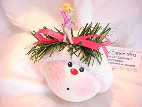 Gymnastics Gymnast Christmas Ornament Pink Girl Hand Painted and Themed by Townsend Custom Gifts