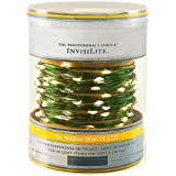 96 Warm White LED Christmas Lights - InvisiLite - 32 ft. - 4 in. Spacing - Flexible Ultra Thin Green Wire