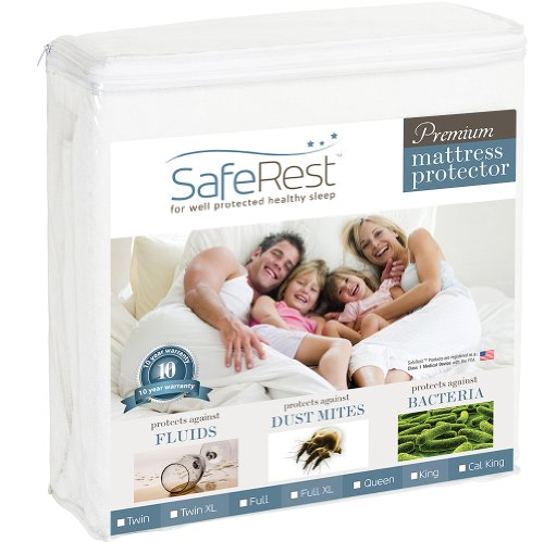 Buy Bargain Queen Size SafeRest Premium Hypoallergenic Waterproof Mattress Protector - Vinyl Free