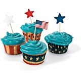 100 Fourth of July Patriotic Red, White and Blue Baking Cups w/ Star Picks