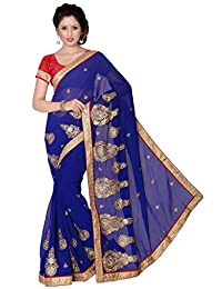 Suchi Fashion Royal Blue Heavy Embroidery, Diamond Work And Border Chiffon Party Wear Saree