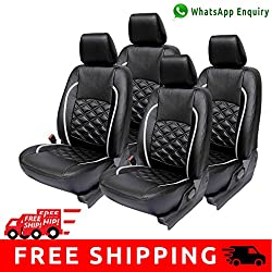 Autofact Brand (Economical Range) PU Leatherite Car Seat Covers for Maruti Car 800 Old Model in Black and Silver Cross design