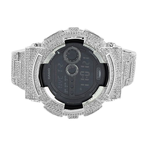 White-G-Shock-Watch-Iced-Out-Simulated-Diamonds-GD100-Black-Dial-Digital