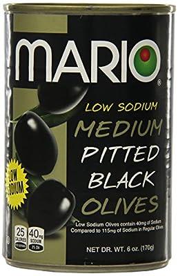 Mario Camacho Foods Low Sodium Black Olives, Medium Pitted, 6.0 Ounce (Pack of 12) from Mario Camacho Foods