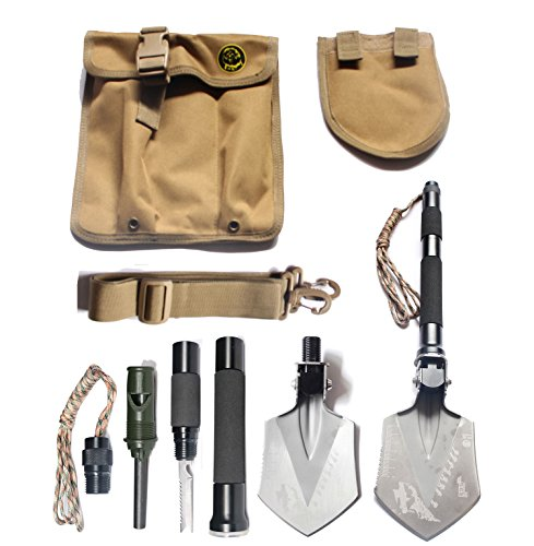Pagreberya Survival Shovel Kit with Multi Tools Paracord Whistle Knife Saw Firestarter, Compact Portable Folding Shovel for Outdoor Camping Backpacking Travel Emergency - Bonus Carrying Bag and Strap (Entrenchment Tool compare prices)