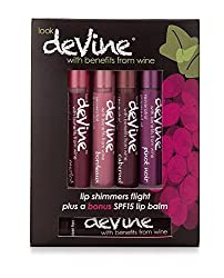 DeVine 4 flights dark blends Lip Shimmers and bonus SPF Lip Balm