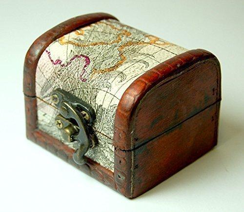 Mini coffre au trésor en bois motif ancienne carte 7x7x6cm