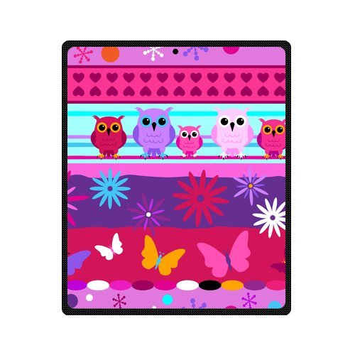 Fashion Blanket Personalized Colorful Cute Cartoon Owls With Flowers Picture Fleece Blanket 50 X 60 Machine Washable back-956444