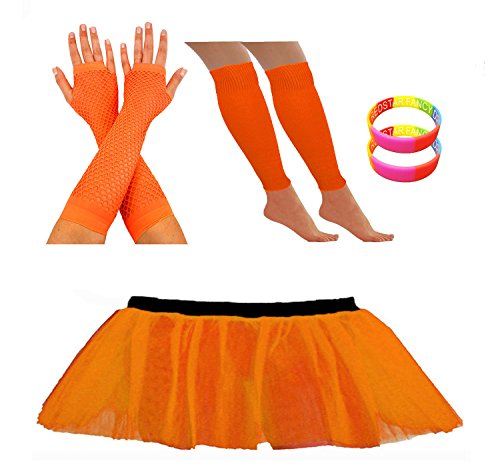 REDSTAR FANCY DRESS® Tutu Set with Fishnet Gloves, Bangles, Leg Warmer - 9 Colours - Sizes 8 to 22