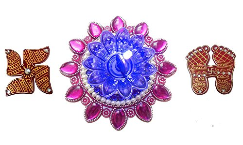 Bold N Elegant Pink & Blue Finely Decorated Handcrafted Designer Floating Diya Candle With LED Lights & Holy Laxmi...