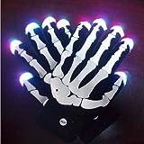 Hooshion® LED Skull Gloves Colorful Flashing Light-emitting Halloween Gloves Black