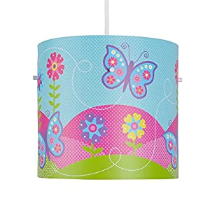 Stunning Pink And Blue Butterfly And Flowers Girl's Colourful Cylinder Ceiling Pendant Light Shade