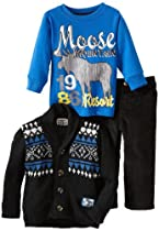 Little Rebels Baby-boys Infant 3 Piece Moose Sweater and Pant Set, Black, 24 Months