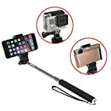 iKross Monopod Selfie Handheld Extendable Stick Pole with Mount Holder and Tripod Adapter For Gopro HERO 1 2 3 3+ 4 Hero4 HERO4 Session - iPhone 6 6 Plus - Smartphone - Window Phone - Compact Digital camera