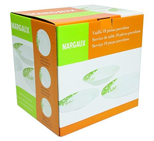 Unbranded 7154012 Margaux Service de Table Lot de 18 Pièces Porcelaine Blanc/Vert 28,3 x 23,2 x 28,4 cm