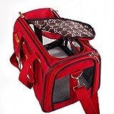 WOpet pet bag carrier ペットキャリーバッグ 組み立て・折りたたみが簡単!肩掛けもできる軽量ペットキャリー 折り畳ソフトキャリー かわいいキャリーバッグ お出かけ用品 (レッド) エアーバッグ