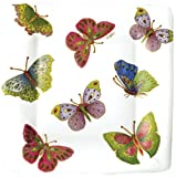 Caspari Entertaining with Caspari Jeweled Butterflies Square Paper Salad/ Dessert Plates, Pack of 8, Ivory