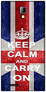 Snoogg Keep Calm and Carry on Designer Protective Back Case Cover For Micromax Canvas Express A99