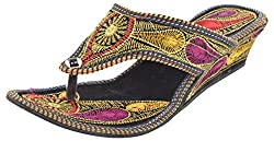 Rajasthani Slipper with Heal Girls Multi-Coloured Gore-Tex Casual Slippers - 7 UK