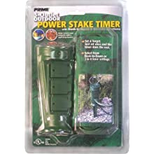 Prime PBTN0006 Outdoor Power Stake with 3-Outlets Sliding Outlet Covers On/Off Switch 6-Feet Cord and Timer Function, Green