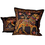 Little India Hand Embroidery Brocade Work Cotton 2 Piece Cushion Cover Set - Blue