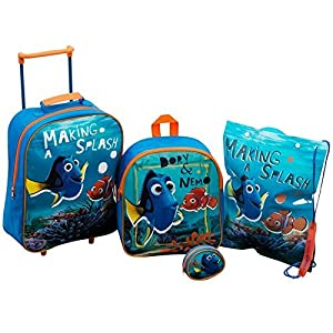 Disney Finding Nemo Childrens Kids 4 Piece Travel Luggage Set Holiday Trolley Bag School Backpack Purse Swim Bag