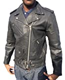 Belted Mens Leather Biker Jacket Size small medium FZ47 Black