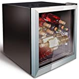 Husky Wine and Drinks Refrigerator Silver Mini Fridge, Wine Fridge, Can Cooler