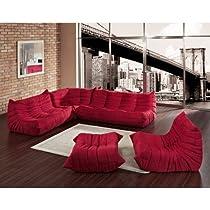 Big Sale Lexington Modern Waverunner Modular Sectional Sofa Set, Red, 5-Piece