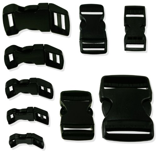 6-pack Quick Release Black Strap Buckles - 1-inch Contoured Size (1 Webbing Clip compare prices)