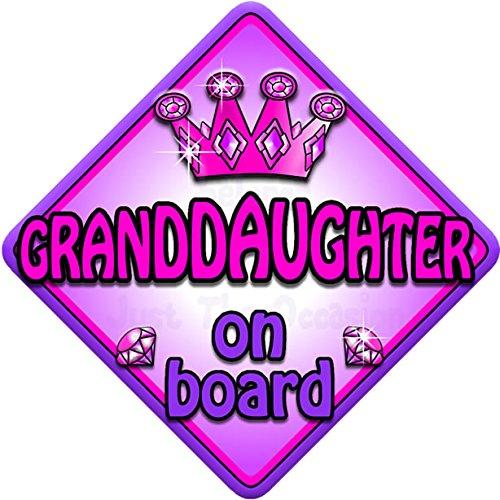 Personalised Child//Baby On Board Car Sign ~ Nana /& Grandads Princess ~ Pink