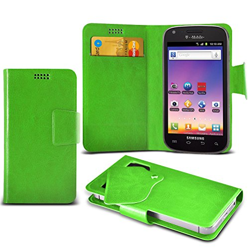 ONX3 Green Samsung Galaxy S Blaze 4G T769 Super Thin Faux Leather Wallet Flip Suction Pad Skin Case Cover With Credit Debit Cards Slot