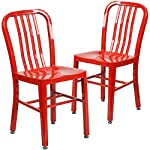 Flash Furniture 2 Pk. Red Metal Indoor-Outdoor Chair