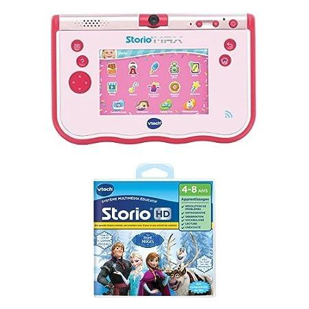 Vtech - Lot d'une Tablette Storio 5 Pouces Rose + un jeu HD Storio La Reine des Neiges